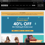 40% off All Clothing and Underwear @ Bonds