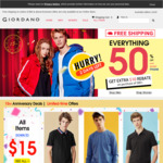 GIORDANO | Free Shipping on All Items Sitewide + More than 50% off Everything + Get $10 Rebate