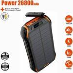 Solar Power Bank 26800mAh with Qi Wireless Charge 2 Input & 3 Output Ports IP66 Waterproof $69.99 (Was $79.99) @ ZHAM Amazon AU