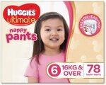 Huggies Ultimate Nappy Pants Girls Size 6/Junior (16+kg), 78pk $22.07 ($19.86 S&S/$18.76 Prime) + Post ($0 Prime/$39+) @ Amazon