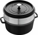 Staub Round Cocotte with Steamer, 26 Cm, Black $250.08 Delivered @ Amazon AU