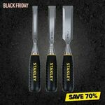 Stanley 3pc. 13/19/25MM Wood Chisel Set $14.95 (Was $49.95) at Total Tools
