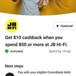CommBank Rewards - Get $10 Cashback When You Spend $50 or More at JB Hi-Fi