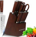 Antinives 15 Piece Kitchen Knife Set with Wooden Block $76.49 Delivered @ Antinives Australia via Amazon AU