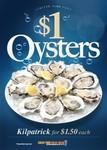 $1 Oysters Natural or $1.50 Kilpatrick at 228 Venues in QLD, VIC, SA, WA and NSW