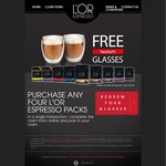 DORO L'OR Espresso Cap 10Pack X 4 for $16 at Coles + Once off Free Bodum Glasses