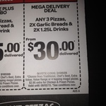 Domino's Pizza - Any 3 Pizzas, 2x Garlic Bread, 2x 1.25l Drinks Delivered $30