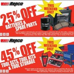 Repco- 25% off Spare Parts/Batteries + 45% off Tool Kits [This Weekend Only]