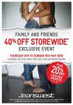 Jeanswest 40% Storewide between Thu 6/5 - Sun 9/5 only