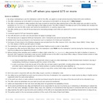 10% off When You Spend $75 or More Sitewide @ eBay