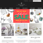 Royal Doulton Outlet up to 70% off with $9.95 Shipping. EDIT: Use Coupon Code for an Additional 30% off!