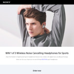 Win 1 of 3 Pairs of Sony Wireless Noise-Cancelling Headphones for Sports Worth $299.95 from Sony