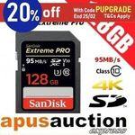 SanDisk Extreme Pro 128GB SDXC 95MB/s Memory Card $57.50 Delivered @ apusauction eBay