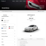 2019 Tesla Model S 75D from $106,307 Drive Away (Model S Standard Range from $136,677)