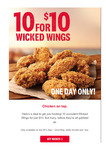 10 Wicked Wings for $10 @ KFC via APP Only
