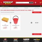 SCA Large Wash Sponge + Plastic Bucket Combo $2, SCA Large Sponge 2 for $2 @ Supercheap Auto