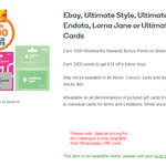 1000 Points on $50 Ultimate Style, Ultimate Students, Endota, Lorna Jane Gift Cards @ Woolworths