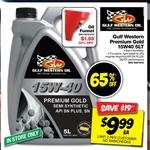 Gulf Western Premium Gold 15W-40 Engine Oil 5L $9.99, Castrol Edge Diesel 0W-40 5L $19.99, 6x4 Tarp $1.79 @ Autobarn