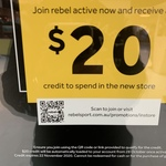 [NSW] Join Rebel Active Now and Receive a Free $20 Credit to Spend @ Rebel Sport (Parramatta)