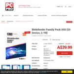 Bitdefender Total Security 2021 (Family Pack: 15-Device, 2-Years) - A$39.99 (85% off RRP of $269.99) @ PC Pro Magazine