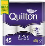 Quilton 3 Ply Toilet Tissue (180 Sheets Per Roll, 11x10cm) 45 Pack $20 ($18 S&S) + Delivery ($0 w/ Prime/ $39 Spend) @ Amazon AU