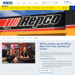 20-30% off for Auto Club Members this Friday, Saturday and Sunday @ Repco