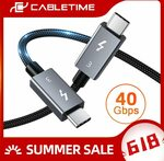 CABLETIME Thunderbolt 3 USB-C to USB-C 40Gbps 100W PD 0.5m Cable US$14.29 (~A$19.11) Delivered @ Cabletime AliExpress