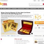 24k Gold Plated Playing Cards w/ Wooden Gift Box - $25 - Free Delivery - MyDeal.com.au