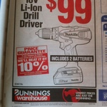 Makita DF457DWE 18V Li-Ion Cordless Drill Driver+2 Batteries $99 (Was $199) @ Bunnings Warehouse