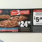 Domino's Any 3 Pizzas Delivered for $24