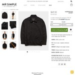 Mr Simple - Slim Fit Harrington Jacket $69.50 or $49.50 with Email Subscription Code (Was $139) Free Delivery