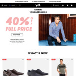 40% off All Full Priced Mens Clothing at yd. Online Only for 12 Hours