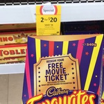 Purchase 2x Cadbury Favourites 540g for $20 @ Coles or 1x for $9.50@Big W + a Free Movie Ticket by Redemption