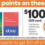 1000 Rewards Points (Worth $5) with $50 eBay Gift Card / 2000 Points (Worth $10) with $100 eBay Card @ Woolworths (10 Cards Max)