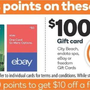 1000 Rewards Points Worth 5 With 50 Ebay Gift Card 2000 Points Worth 10 With 100 Ebay Card Woolworths 10 Cards Max Ozbargain