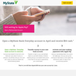 $50 Cash for Opening a New MyState Everyday Account (Make 3 Apple Pay Transactions)