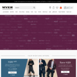 Myer - $20 off $100 Spend for Women/Men's Clothing/Footwear/Accessories