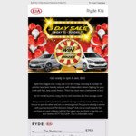 [NSW] 3 Day Sale: $750 + $777 off The Purchase of a New Kia @ Ryde Kia (West Ryde)