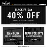 Spalding 40% off Basketballs and Accessories Sale - Black Friday to Cyber Monday