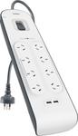Belkin SurgePlus 8 Outlet 2 USB Surge Protector Powerboard - $42 @ Bunnings