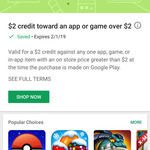 Google Play - Free $2 Credit Towards an App or Game over $2