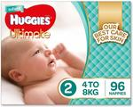 3 x Huggies Ultimate Nappies, Unisex, Size 2 Infant (4-8kg), 96 Count $57.60 Delivered @ Amazon AU