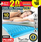 COOL GEL Memory Foam Mattress Topper BAMBOO Fabric Cover 8CM + Pillow (s) $68 - $127 Delivered @ Bargains Online eBay