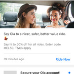 [VIC] 20 to 50% off on Rides in Melbourne @ Ola Cabs