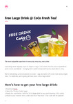 Free Large Drink @ CoCo via Liven App (New Users)