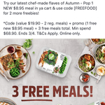 2 Free Meals + 1 Free Promo Meal (Min Spend $68.90) @ Youfoodz