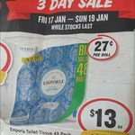 Emporia 3 Ply Toilet Paper 48 Rolls $13 (27c per roll) @ IGA