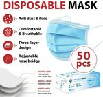 50pk of 3 Layer Disposable Face Masks $19 with Free Shipping (Metro Areas) - Luxor Linen MyDeal
