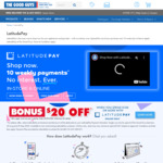 $20 off $100+ Spend Using LatitudePay (Online Only) @ The Good Guys