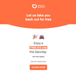 [NSW] Free $15 Ride Every Saturday for Next 6 Weeks @ DiDi (Sydney)